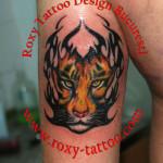 modele tatuaje tigru picior tigru mana tribale